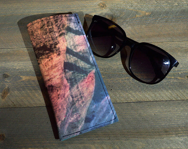 Desert Mountains - Printed Leather Eyeglasses Case
