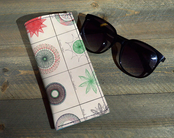 Spirograph - Printed Leather Eyeglasses Case