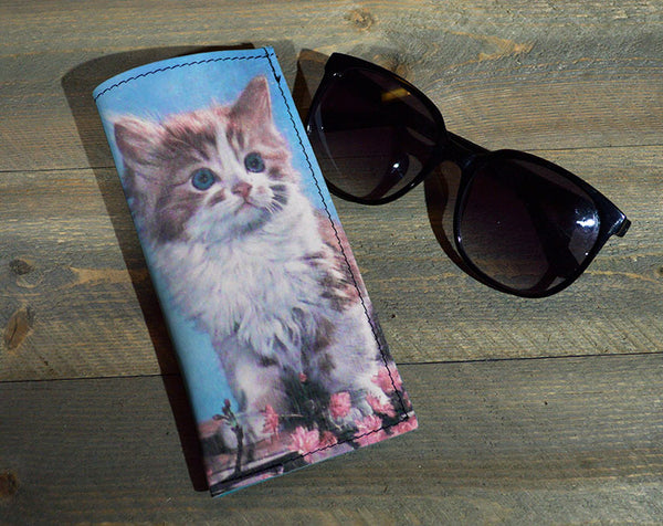 Kitty - Printed Leather Eyeglasses Case