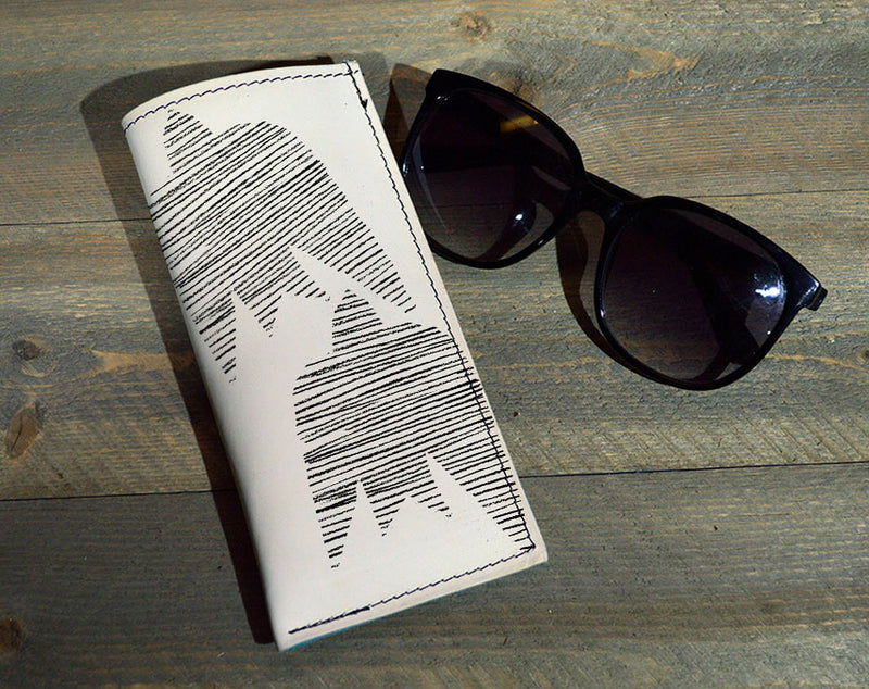 Bird Lines- Printed Leather Eyeglasses Case