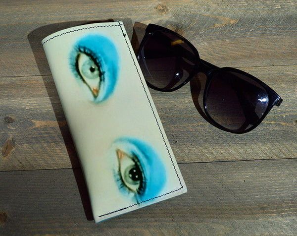 Bowie Eyes - Printed Leather Eyeglasses Case