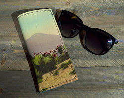 Desert Fade - Printed Leather Eyeglasses Case