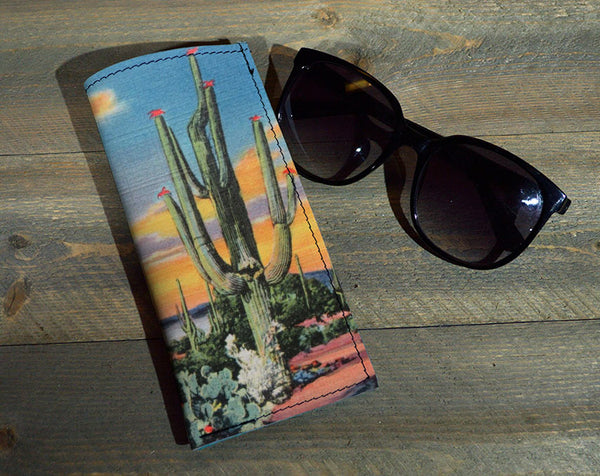 Cactus Eve - Printed Leather Eyeglasses Case Wholesale