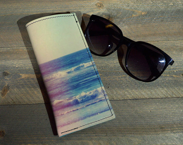 Ocean Fade - Printed Leather Eyeglasses Case