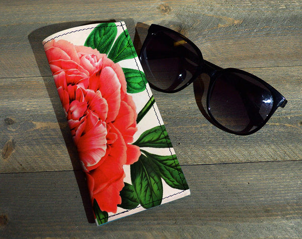 Red Flower - Printed Leather Eyeglasses Case Wholesale