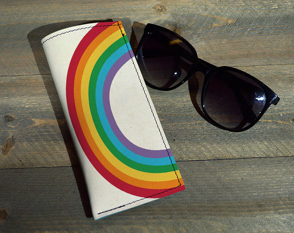 Rainbow - Printed Leather Eyeglasses Case
