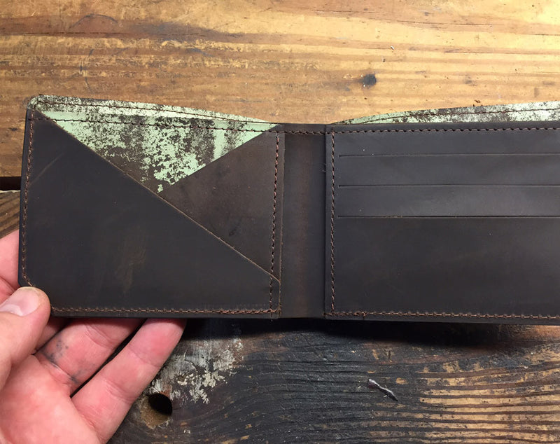 Green Distressed Kodiak Leather Wallet