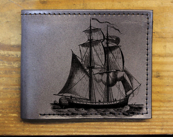 Compact Bi-Fold - Pirate Ship Leather Wallet