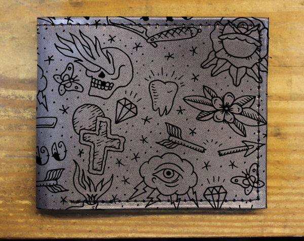 Compact Bi-Fold - Tattoo Leather Wallet