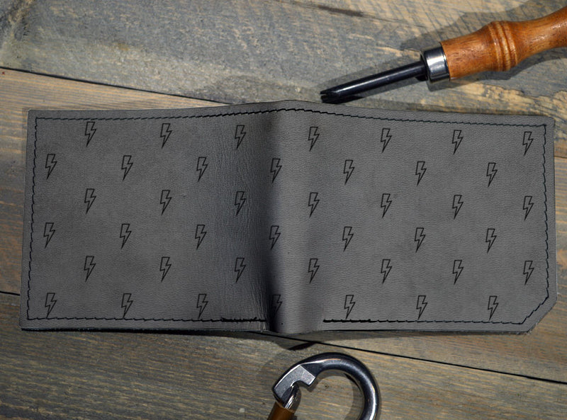 Lightning Pattern - Printmaker Leather Wallet