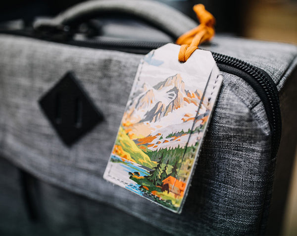 Abstract Mountains - Leather Luggage Tag
