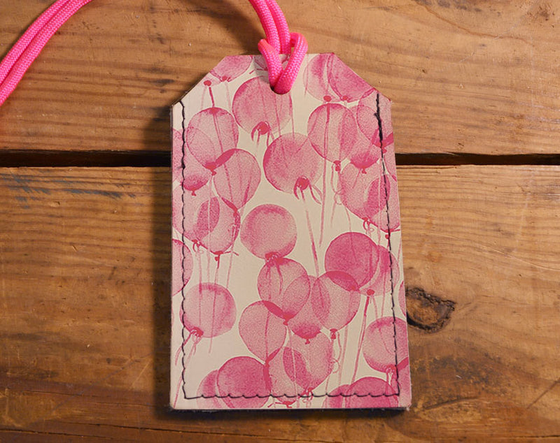 Pink Balloons - Leather Luggage Tag