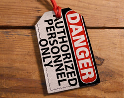 Danger - Leather Luggage Tag