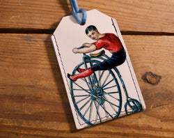 Penny Farthing - Leather Luggage Tag