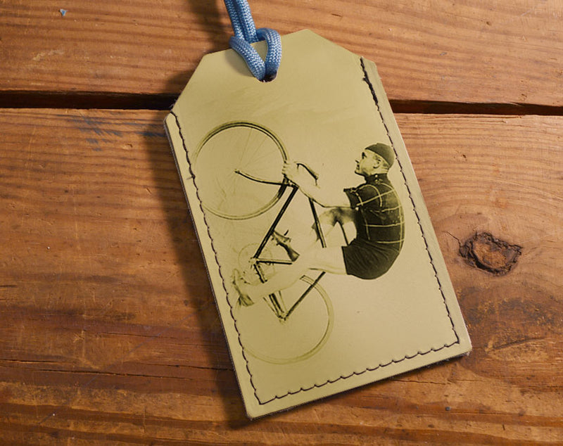 Cyclist - Leather Luggage Tag