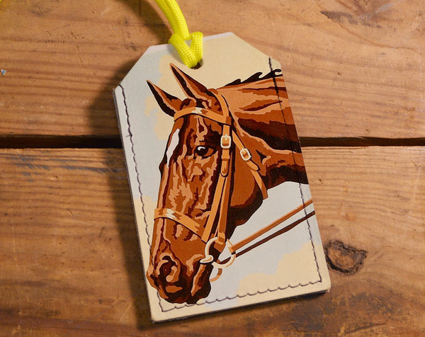 Painted Horse - Leather Luggage Tag