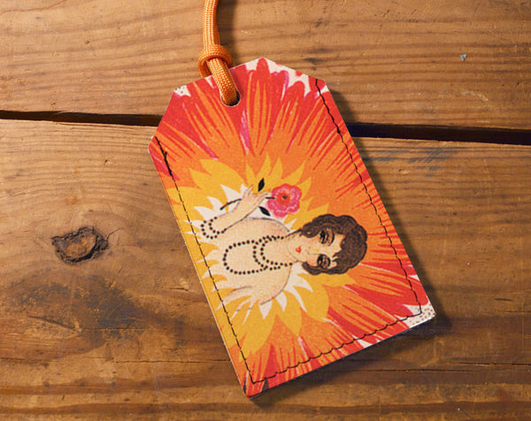 Flower Lady - Leather Luggage Tag