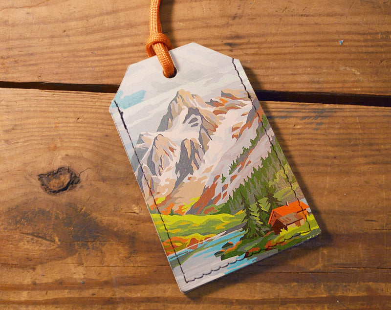 Painted Mountains - Leather Luggage Tag