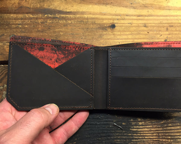 Red Distressed Kodiak Leather Wallet