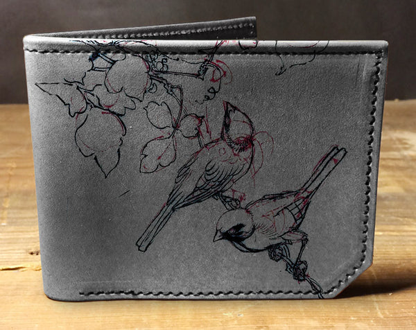 Sketch Birds - Printmaker Leather Wallet