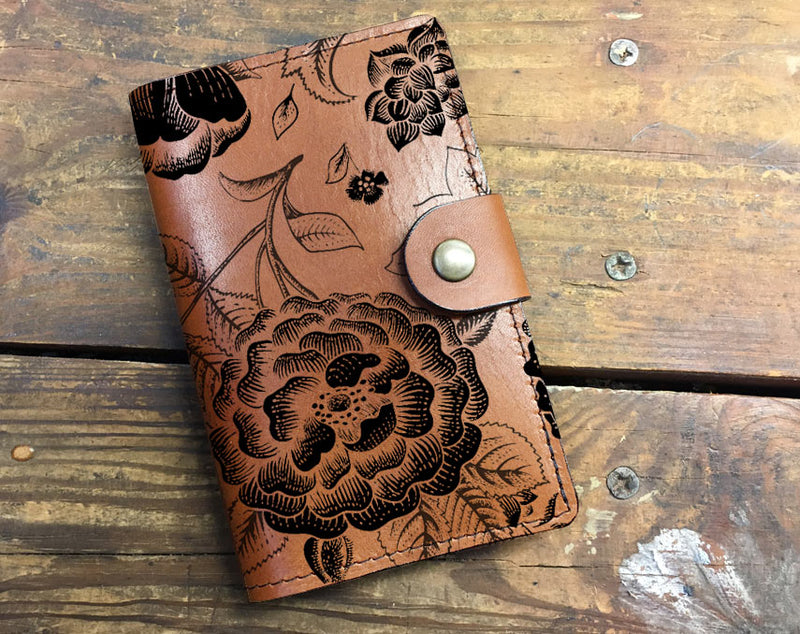 Floral Print - Leather Journal Cover