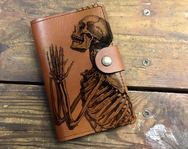 Praying Skeleton - Leather Journal Cover
