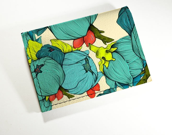 Blue Flowers - Vinyl Mini wallet Wholesale