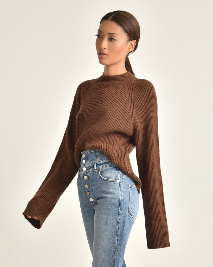Remy Mock Neck Rib Merino Blend Sweater_Heather Chestnut_Sidee