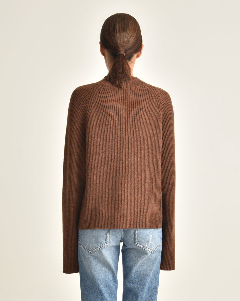 Remy Mock Neck Rib Merino Blend Sweater_Heather Chestnut_Back