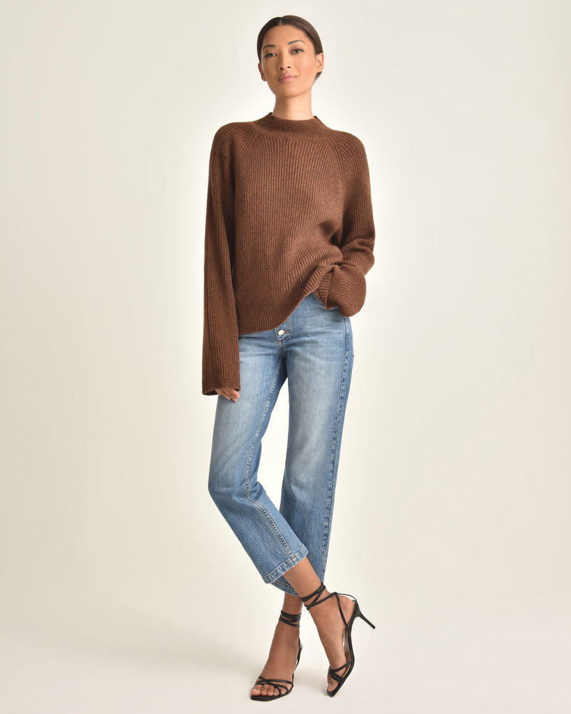 Remy Mock Neck Rib Merino Blend Sweater_Heather Chestnut_Front