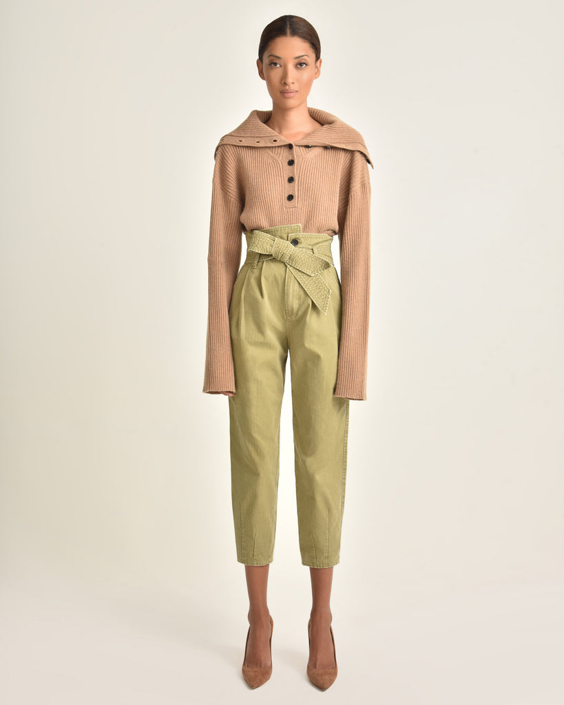 Aspen Button Front Cashmere Blend Sweater_Camel_Front 2