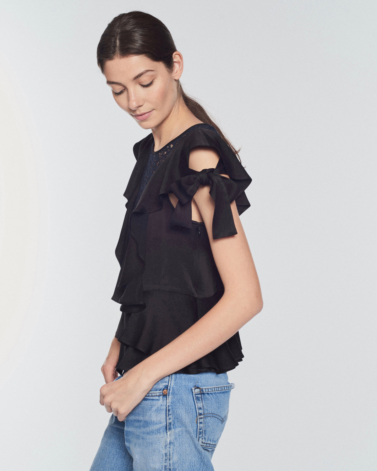 Marielle Crepe & Lace Top