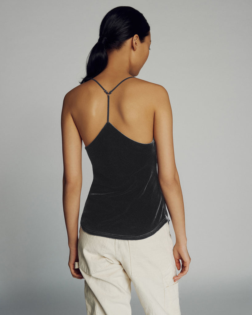 Aria Velvet Tank in Smoke Grey