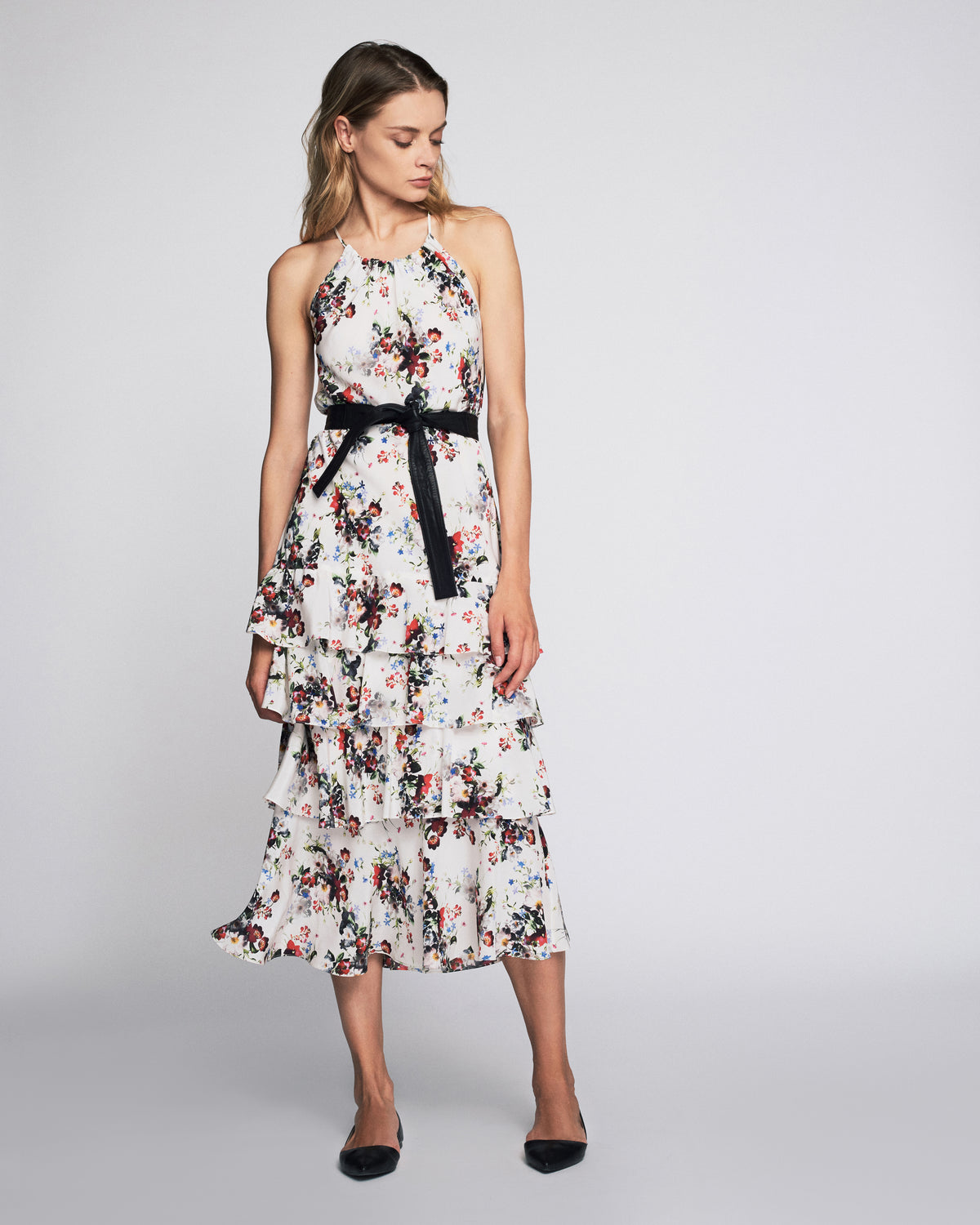 Everleigh Print Dress In White Shadow Floral