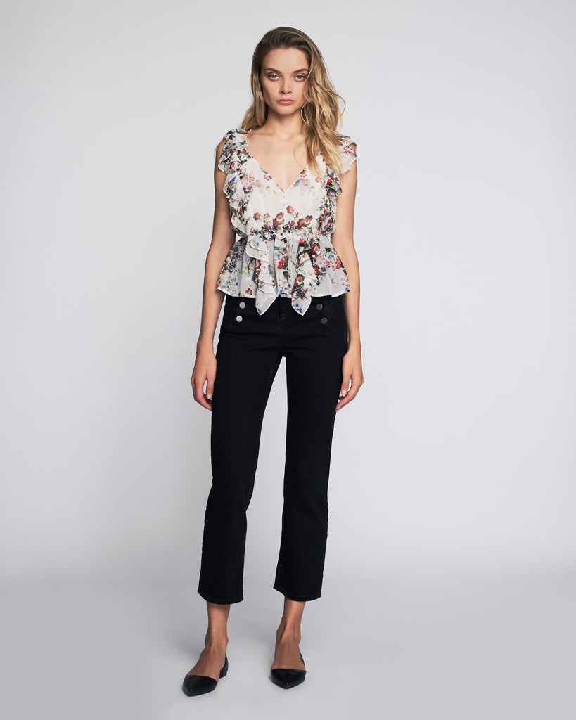 Viola Print Top in White Shadow Floral
