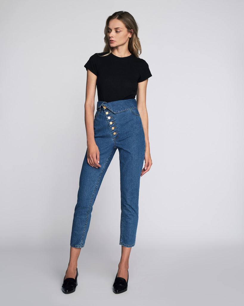 Erica Denim Pant in Distressed Blue