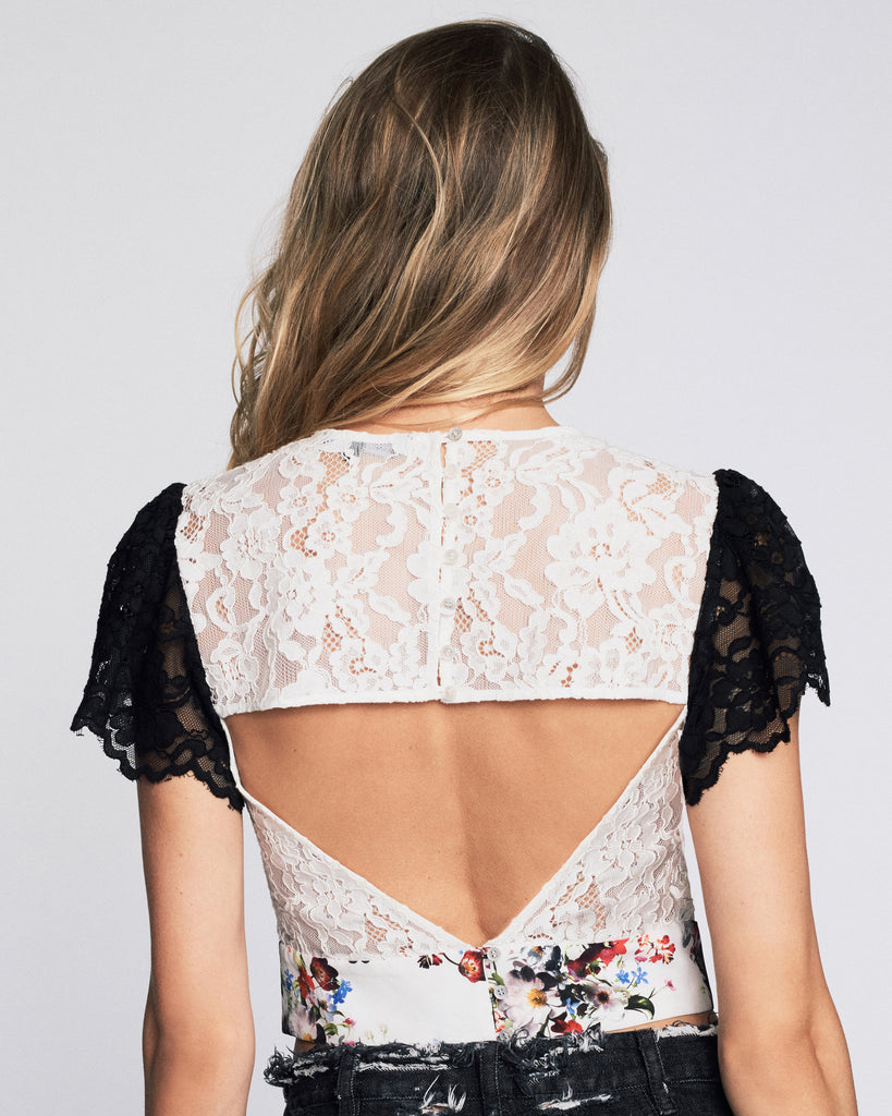 Imani Print & Lace Top in White Shadow Floral