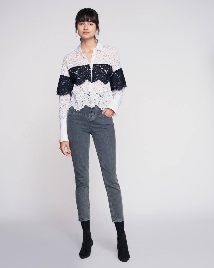 Justine Lace Shirt in Soft White Combo