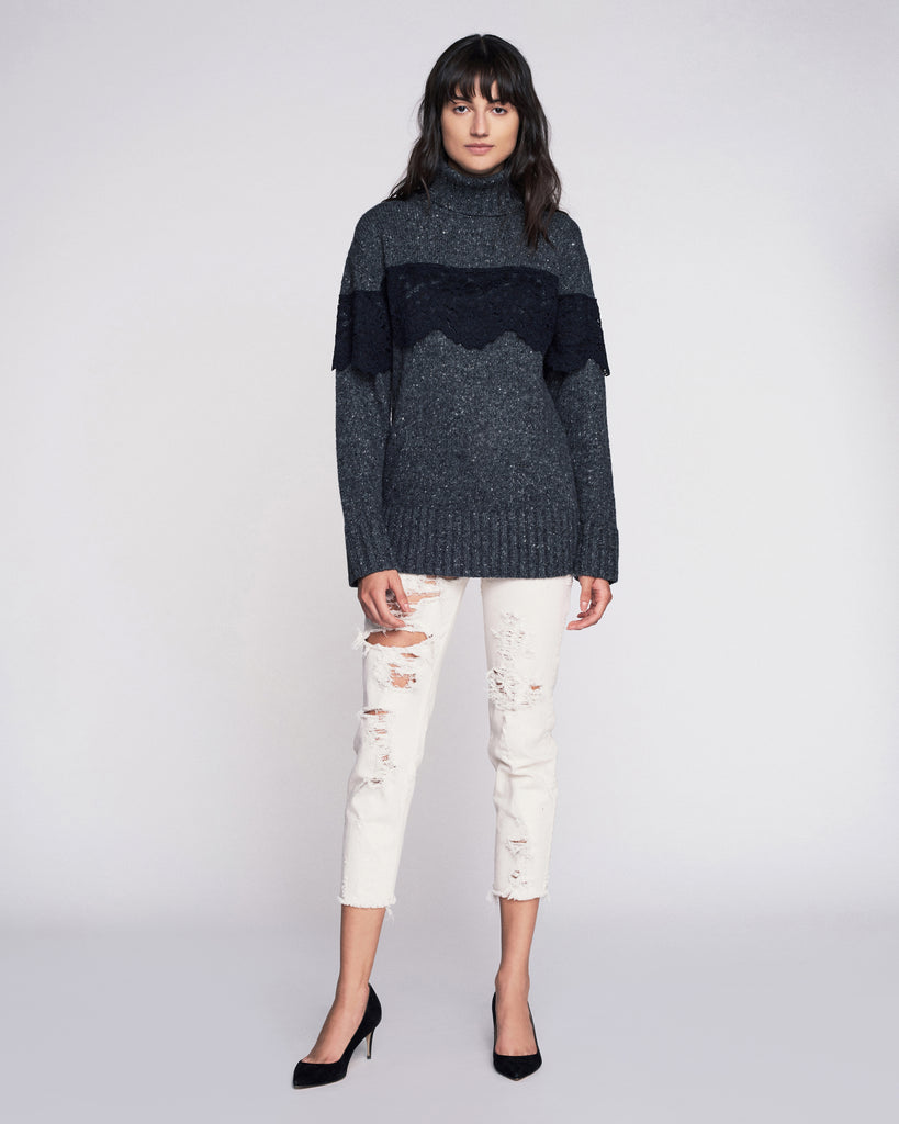 Weston T-Neck Pullover In Dark Charcoal Combo