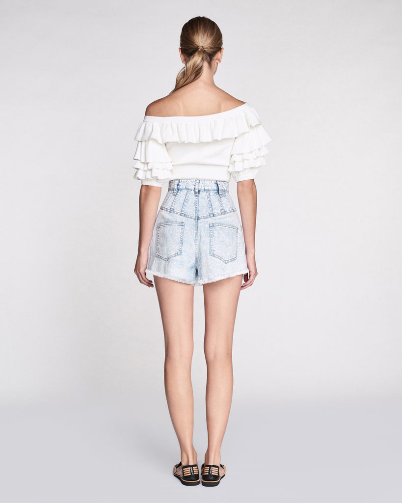 Anton Ruffle Cropped Sweater in White