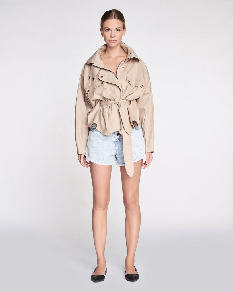 Kayla Lightweight Canvas Jacket in Sandshell