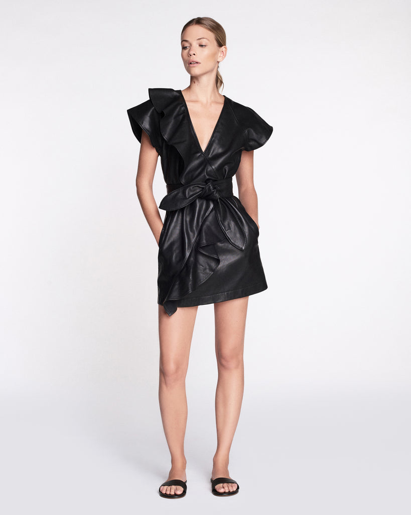 Josefina Leather Dress in Black
