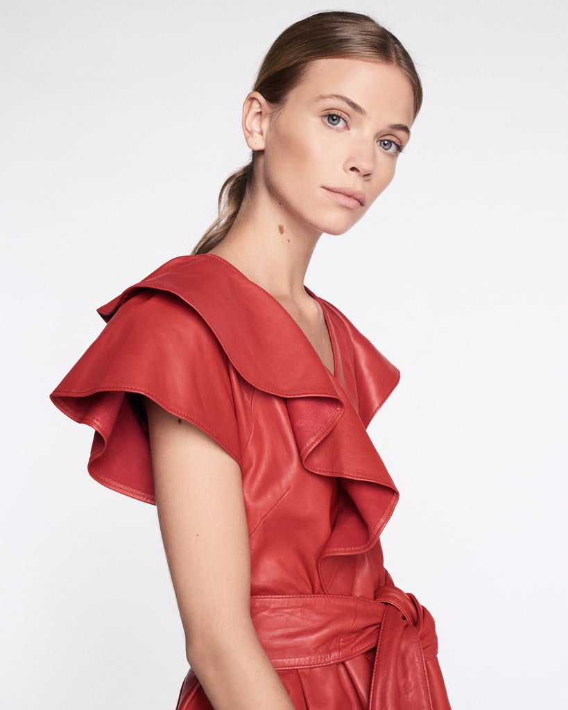Josefina Leather Dress in Cardinal Red