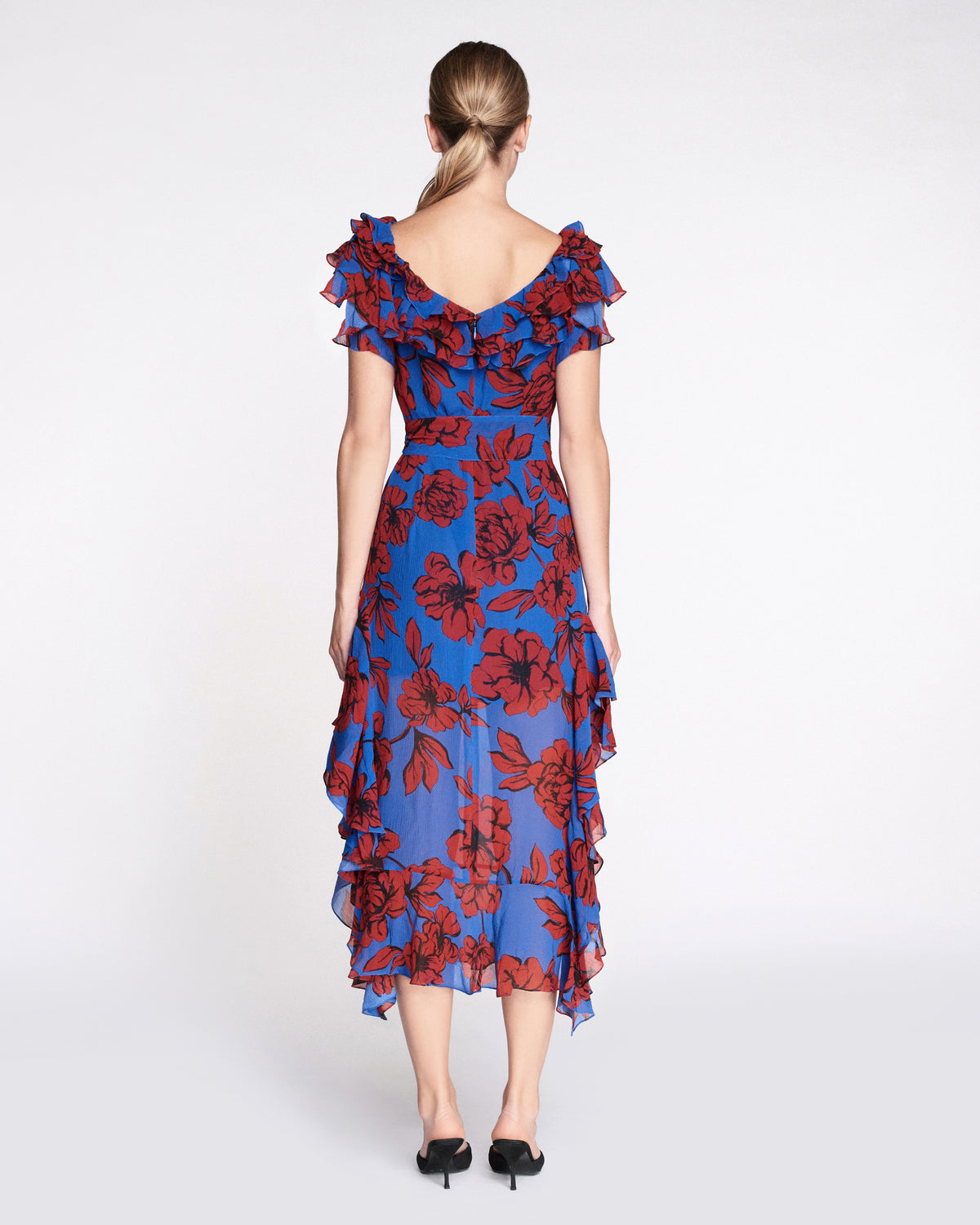 Sofia Print Dress in Peony Klein Blue