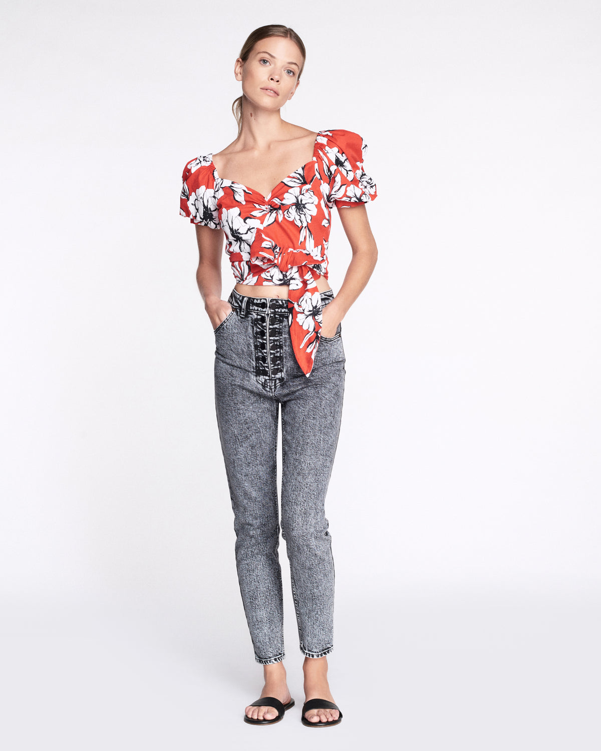 Diane Print Top in Peony Cardinal Red