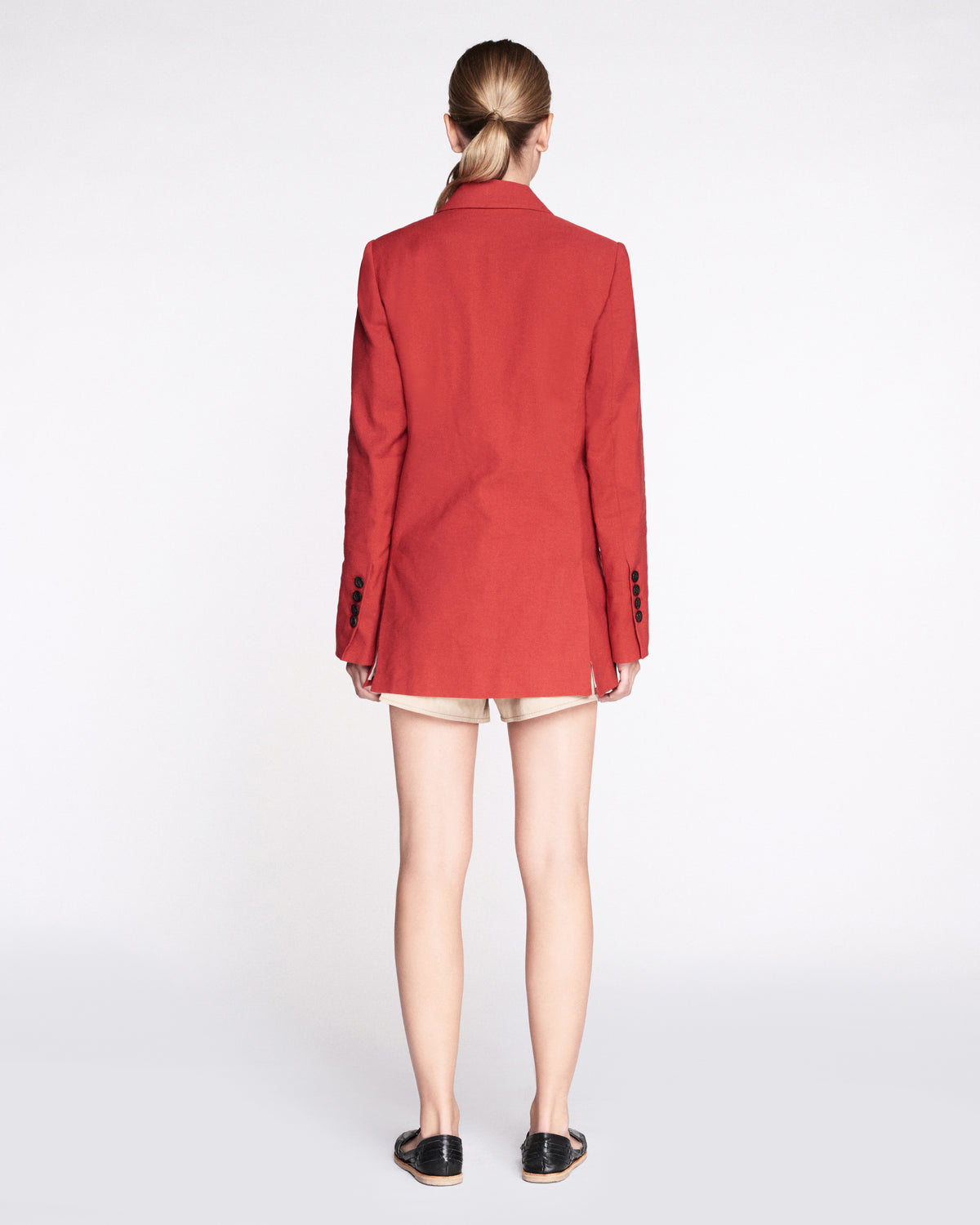 Carmen Linen Blazer in Cardinal Red
