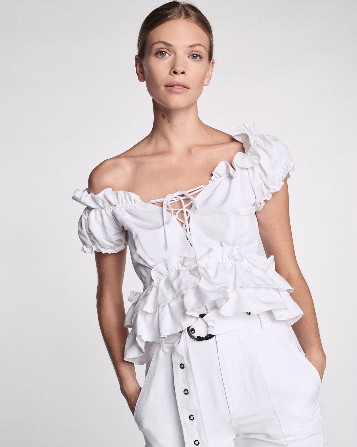 Amaya Faille Top in White