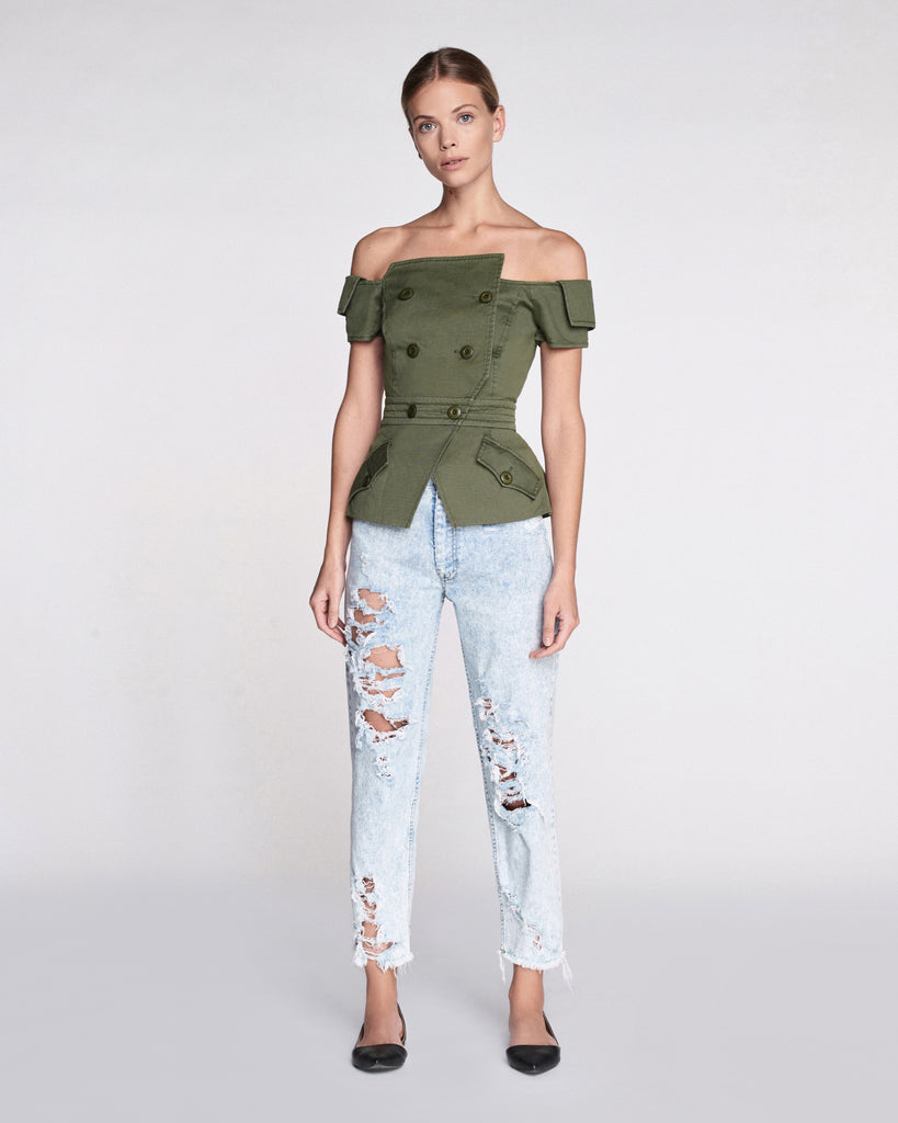 Chantel Canvas Jacket in Military Green