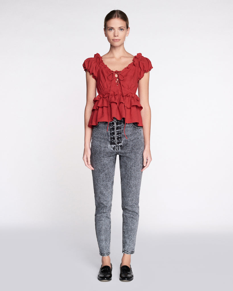 Amaya Linen Top in Cardinal Red