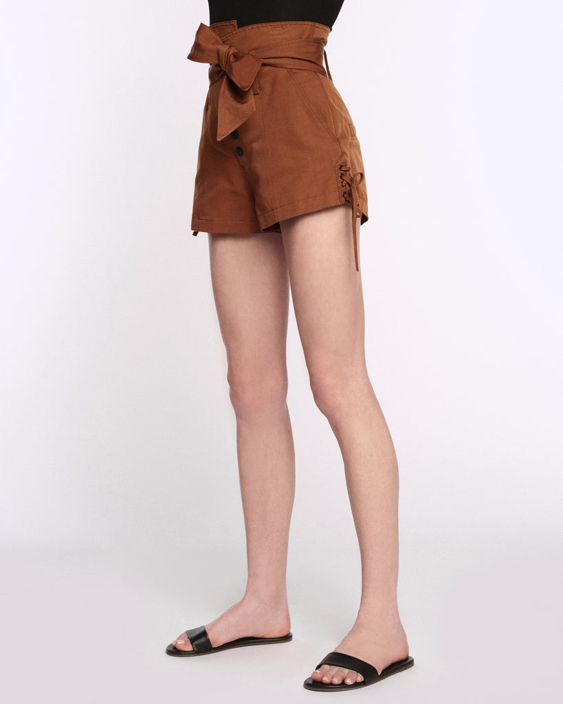 Gia Faille Shorts in Copper Brown